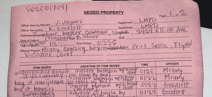 A copy of the seized property log left at 2424 Elliott Ave. on March 13.