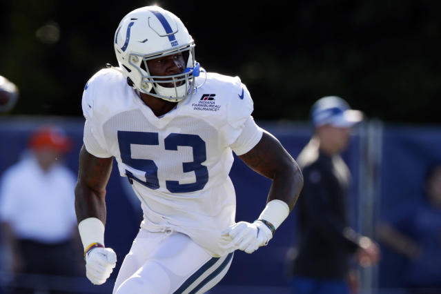 FILE - In this July 31, 2019, file photo, Indianapolis Colts outside linebacker Darius Leonard (53) runs a drill during practice at the NFL team's football training camp in Westfield, Ind. Leonard works relentlessly at his rural South Carolina home to prepare for another football season. He's also wary of pushing too hard, knowing a minor injury could become a major setback given the dearth of medical experts in his area. So when in doubt the Colts star confers with his coaches, who are creating safer, more efficient individual workout programs based on data collected the past few weeks. All part of a changing NFL world: high-tech devices supplanting old-school creativity. (AP Photo/Michael Conroy, File)