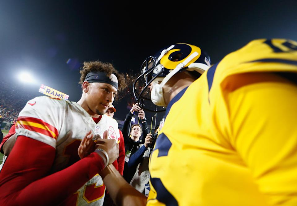 Quarterbacks Patrick Mahomes (L) and Jared Goff put on a memorable show on Monday. (Getty Images)