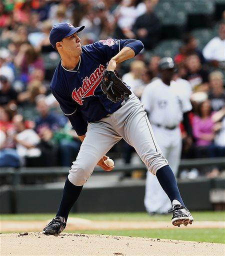 Cleveland Indians starting pitcher Ubaldo Jimenez throws against the Chicago White Sox during the first inning of a baseball game in Chicago, Saturday, June 29, 2013. (AP Photo/Charles Cherney)