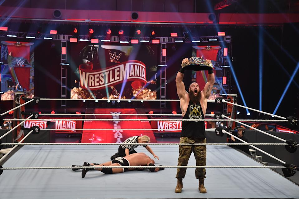 Braun Strowman defeated Goldberg in front of no fans at WrestleMania. (WWE)