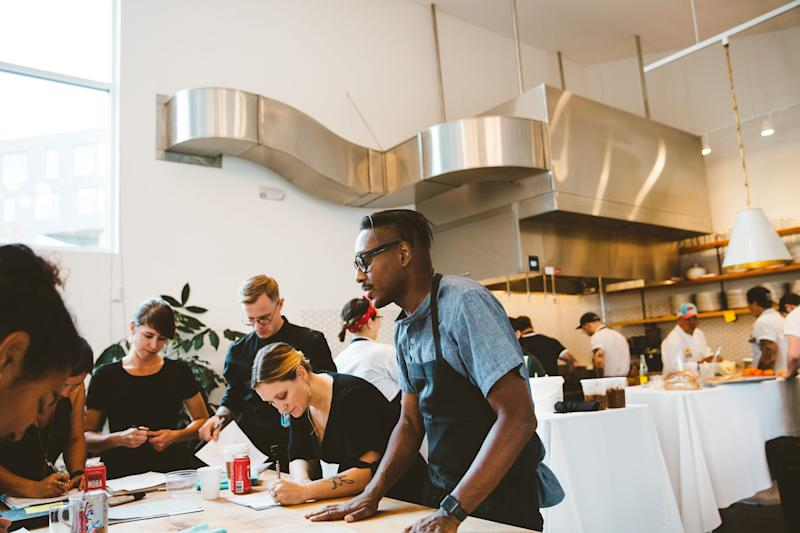 Gregory Gourdet, far right, got sober almost 11 years ago, and spoke openly about his struggles with addiction when he competed on Bravo's Top Chef.