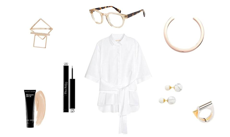 <p>Want to show that you mean business—in both your career, and your love life? There's nothing more put-together and professional than a crisp white blouse with a bit of extra flare. And throw that old adage about boys not making passes at girls wearing glasses out the window: If you're wearing frames as cute as these babies, no single perusing his (or her) matches will be able to resisting sending over a message. </p>