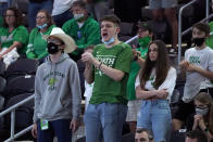 North Texas fans watch during the second half of the championship game between North Texas and Western Kentucky in the NCAA Conference USA men's basketball tournament Saturday, March 13, 2021, in Frisco, Texas. (AP Photo/Tony Gutierrez)