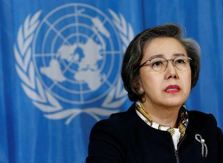 Special Rapporteur on the situation of human rights in Myanmar, Yanghee Lee addresses a news conference after her report to the Human Rights Council at the United Nations in Geneva, Switzerland, March 13, 2017. REUTERS/Denis Balibouse
