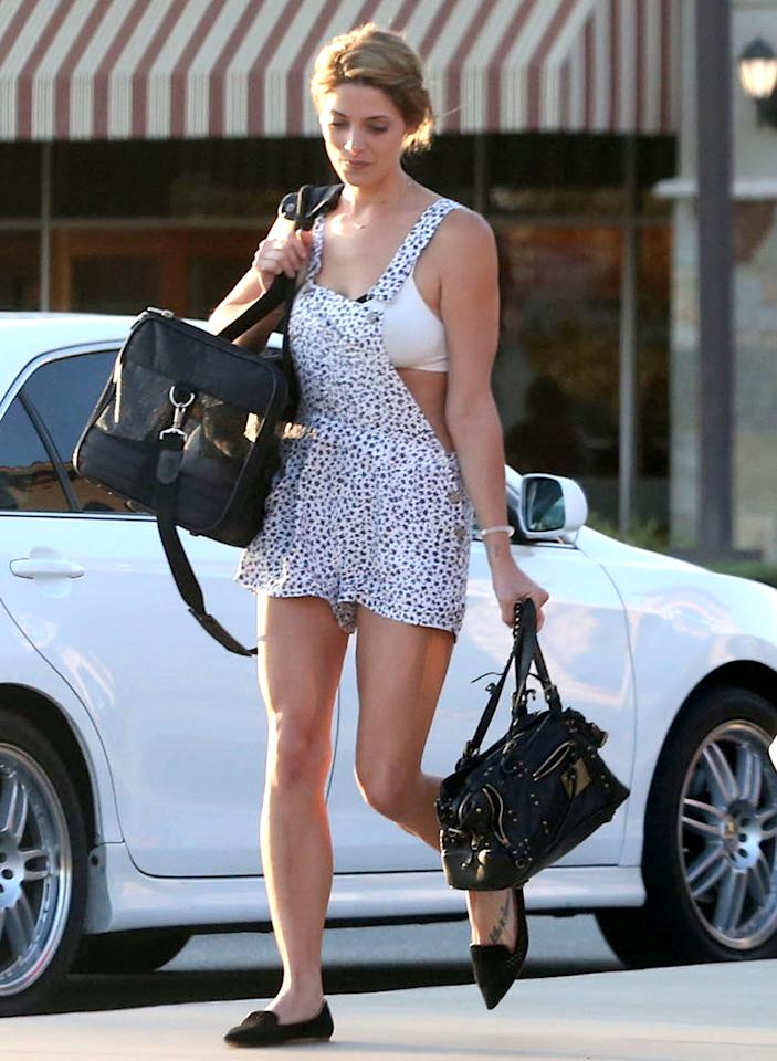 """<b>Ashley Greene</b> was missing an essential part of her wardrobe while picking up her pooches in Los Angeles over the weekend. The former """"Twilight"""" star dared to wear a Dalmation-print romper sans shirt, turning her undergarments into outerwear. There's no question that Ashley has the body to pull off this revealing (read: tacky) getup, but we're left questioning her level of taste. Are you?"""