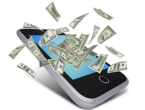 Smartphone with hundred-dollar bills