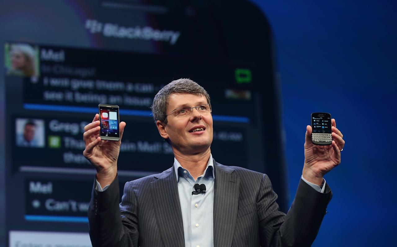 NEW YORK, NY - JANUARY 30:  BlackBerry Chief Executive Officer Thorsten Heins displays the new Blackberry 10 smartphones at the BlackBerry 10 launch event by Research in Motion at Pier 36 in Manhattan on January 30, 2013 in New York City. The new smartphone and mobile operating system is being launched simultaneously in six cities.  (Photo by Mario Tama/Getty Images)