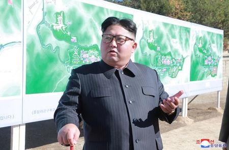 North Korean leader Kim Jong Un inspects a constructions site of Yangdeok