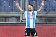 Belgian forward Dries Mertens scored twice to bring his tally to 100 Serie A goals for Napoli.