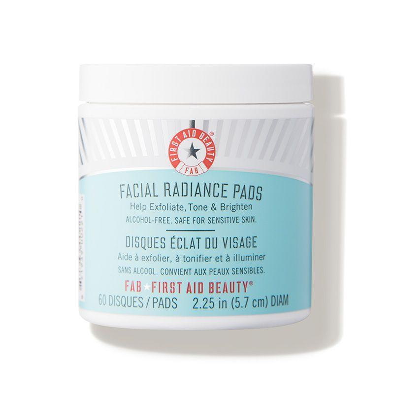 """<p><strong>First Aid Beauty</strong></p><p>dermstore.com</p><p><strong>$36.00</strong></p><p><a href=""""https://go.redirectingat.com?id=74968X1596630&url=https%3A%2F%2Fwww.dermstore.com%2Fproduct_Facial%2BRadiance%2BPads_47449.htm&sref=https%3A%2F%2Fwww.cosmopolitan.com%2Fstyle-beauty%2Fbeauty%2Fg30554130%2Fbest-at-home-face-peel%2F"""" rel=""""nofollow noopener"""" target=""""_blank"""" data-ylk=""""slk:Shop Now"""" class=""""link rapid-noclick-resp"""">Shop Now</a></p><p>These brightening face peel pads <strong>work wonders on stubborn hyperpigmentation</strong>, like melasma, <a href=""""https://www.cosmopolitan.com/style-beauty/beauty/g28719205/dark-spot-corrector-remover/"""" rel=""""nofollow noopener"""" target=""""_blank"""" data-ylk=""""slk:dark spots"""" class=""""link rapid-noclick-resp"""">dark spots</a>, and acne marks. Not only are they pretty non-irritating, but they also use licorice root extract to balance melanin production and exfoliating AHAs to get rid of damaged dead skin cells. For the best results, use them once a day before moisturizer and/or SPF.</p>"""