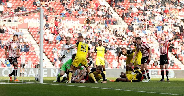 "Soccer Football - Championship - Sunderland v Burton Albion - Stadium of Light, Sunderland, Britain - April 21, 2018 Sunderland's Ashley Fletcher in action before Sunderland score a goal that is later disallowed Action Images/Lee Smith EDITORIAL USE ONLY. No use with unauthorized audio, video, data, fixture lists, club/league logos or ""live"" services. Online in-match use limited to 75 images, no video emulation. No use in betting, games or single club/league/player publications. Please contact your account representative for further details."