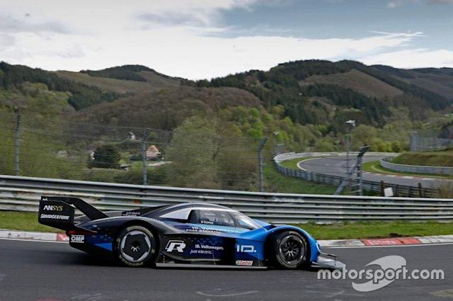 Volkswagen's I.D. R electric prototype turned its first practice laps of the Nurburgring Nordschleife on Thursday ahead of its planned electric lap record attempt at the famed German circuit.