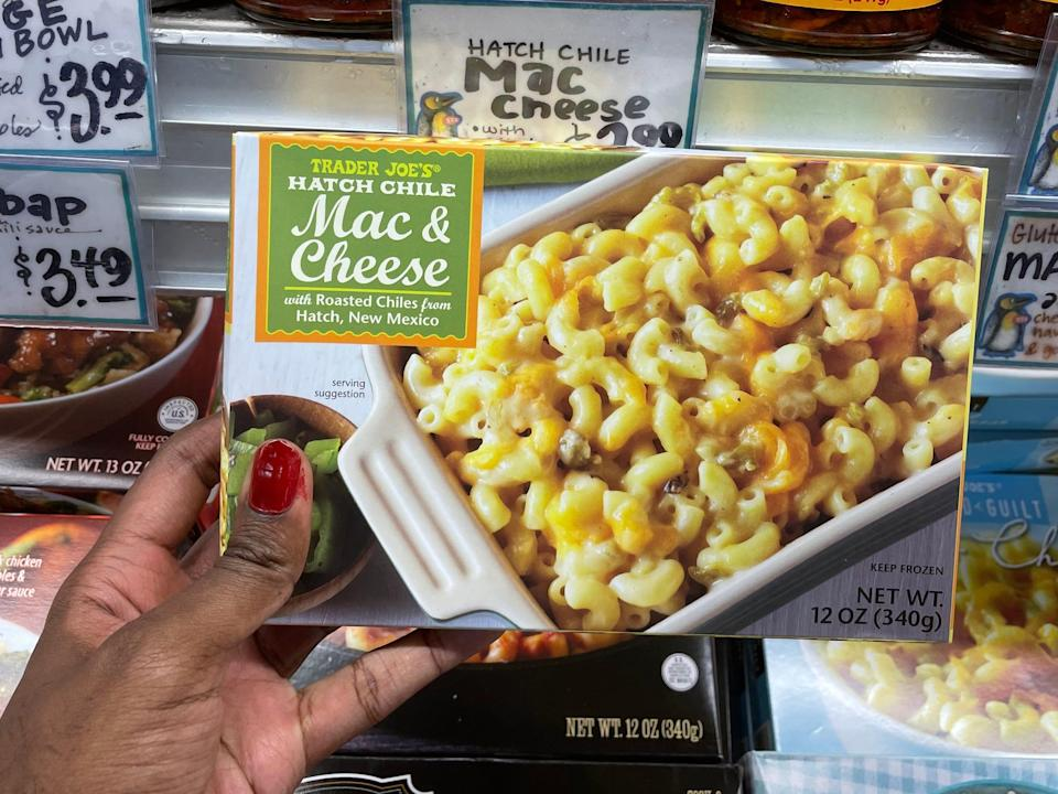 hand holding trader joes green chile mac and cheese