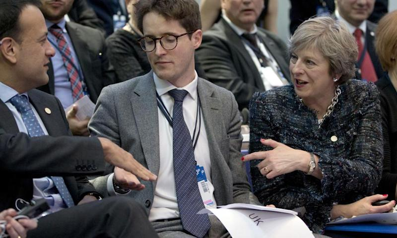 Leo Varadkar, left, speaks with the British prime minister, Theresa May