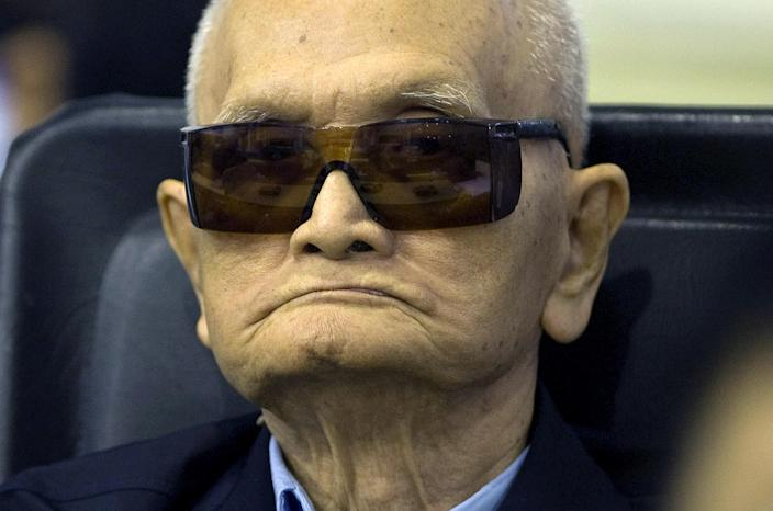 """Handout photo taken and released by the Extraordinary Chamber in the Courts of Cambodia (ECCC) on August 7, 2014 shows former Khmer Rouge leader """"Brother Number Two"""" Nuon Chea in the ECCC courtroom in Phnom Penh (AFP Photo/Mark Peters)"""