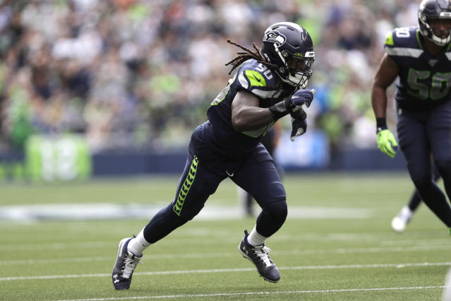 Seattle Seahawks defensive end Jadeveon Clowney runs during the first half of an NFL football game against the Cincinnati Bengals, Sunday, Sept. 8, 2019, in Seattle. (AP Photo/Stephen Brashear)