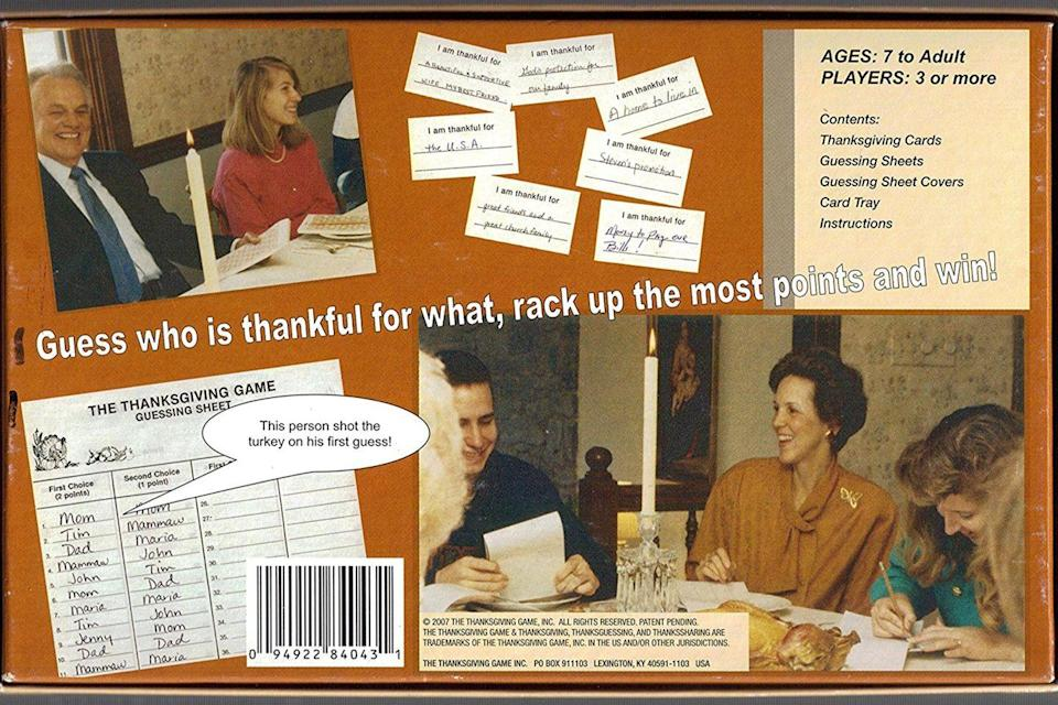 "<p>Going around the table to say what you're thankful for during Turkey Day dinner wasn't quite exciting enough for Kentucky native Louie Stotz. While he was waiting for his family to arrive in 1977, he came up with the idea for The Thanksgiving Game — a <a href=""https://www.goodhousekeeping.com/holidays/thanksgiving-ideas/g4617/thanksgiving-games/"" rel=""nofollow noopener"" target=""_blank"" data-ylk=""slk:family-friendly game"" class=""link rapid-noclick-resp"">family-friendly game</a> that requires players to write down their answers, then guess what others wrote. A pad of paper and a pen would probably work, too.</p>"