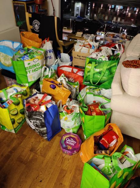 The support group has collected 1,250kg of food (Mark Critchley/The Independent)