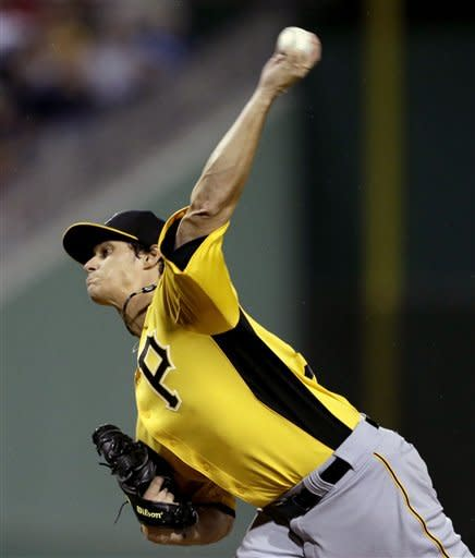 Pittsburgh Pirates starting pitcher Jeff Locke throws in the first inning of an exhibition spring training baseball game against the Boston Red Sox, Friday, March 1, 2013, in Fort Myers, Fla. (AP Photo/David Goldman)
