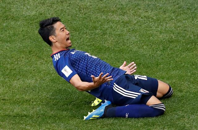 Soccer Football - World Cup - Group H - Colombia vs Japan - Mordovia Arena, Saransk, Russia - June 19, 2018 Japan's Shinji Kagawa celebrates scoring their first goal REUTERS/Damir Sagolj TPX IMAGES OF THE DAY