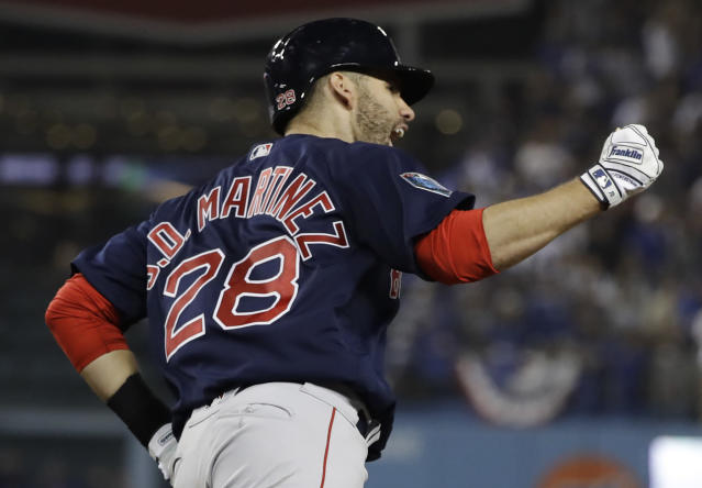 Boston Red Sox slugger J.D. Martinez became the first player to win two Silver Slugger awards in the same season. (AP)