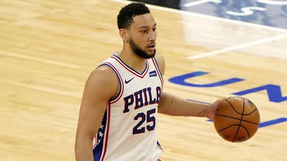 Ben Simmons white jersey solo shot