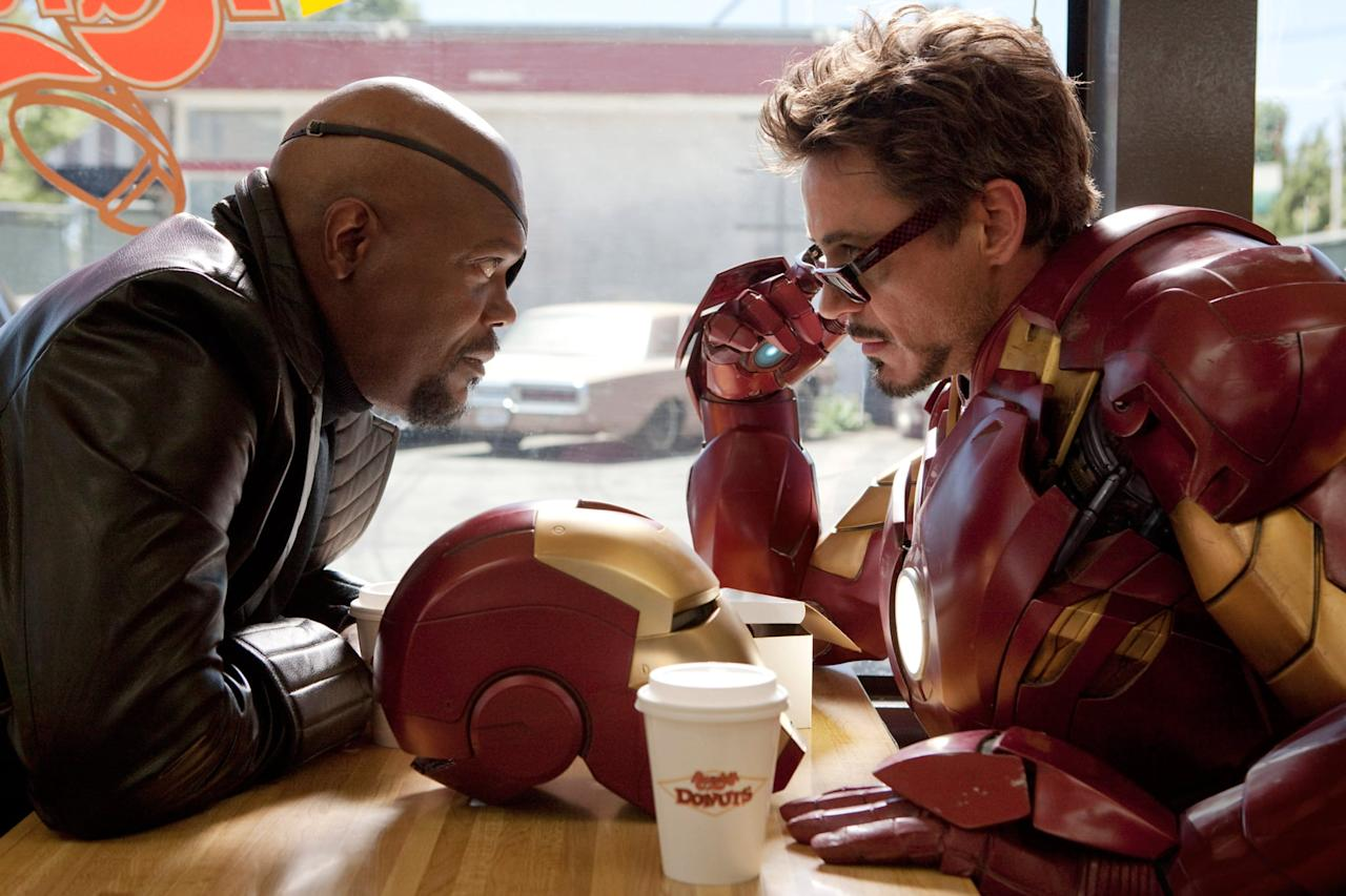 """<p>While the second Iron Man movie suffers from having too many villains, it's still full of important moments, like the introduction of <a class=""""sugar-inline-link ga-track"""" title=""""Latest photos and news for Scarlett Johansson"""" href=""""https://www.popsugar.com/Scarlett-Johansson"""" target=""""_blank"""" data-ga-category=""""Related"""" data-ga-label=""""https://www.popsugar.com/Scarlett-Johansson"""" data-ga-action=""""&lt;-related-&gt; Links"""">Scarlett Johansson</a> as Black Widow. It also proved that Marvel wasn't kidding about creating an interconnected universe of movies as the Avengers begin to take shape. </p> <p><a href=""""https://www.disneyplus.com/movies/marvel-studios-iron-man-2/lXjCr9QmGGQJ"""" target=""""_blank"""" class=""""ga-track"""" data-ga-category=""""Related"""" data-ga-label=""""https://www.disneyplus.com/movies/marvel-studios-iron-man-2/lXjCr9QmGGQJ"""" data-ga-action=""""In-Line Links"""">Watch <strong>Iron Man 2</strong> on Disney+.</a></p>"""