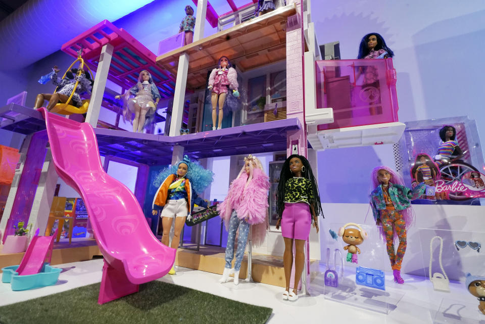 A Barbie Dream House is displayed at the TTPM Holiday Showcase, in New York, Thursday, Sept. 23, 2021. With three months until Christmas, toy companies are racing to get their toys onto store shelves as they face a severe supply network crunch. Toy makers are feverishly trying to find containers to ship their goods while searching for new alternative routes and ports. (AP Photo/Richard Drew)