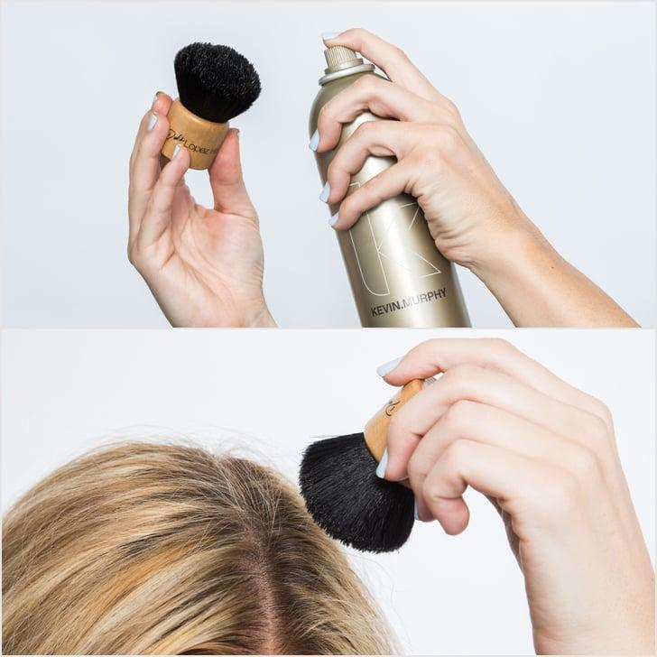 <p>Here's the solution: a kabuki brush. Spritz a makeup brush (one that you won't be using on your face again) with hairspray like <span>Kevin Murphy Session Spray</span> ($37). Then, use the densely packed brush to smooth away flyaway hairs.</p>