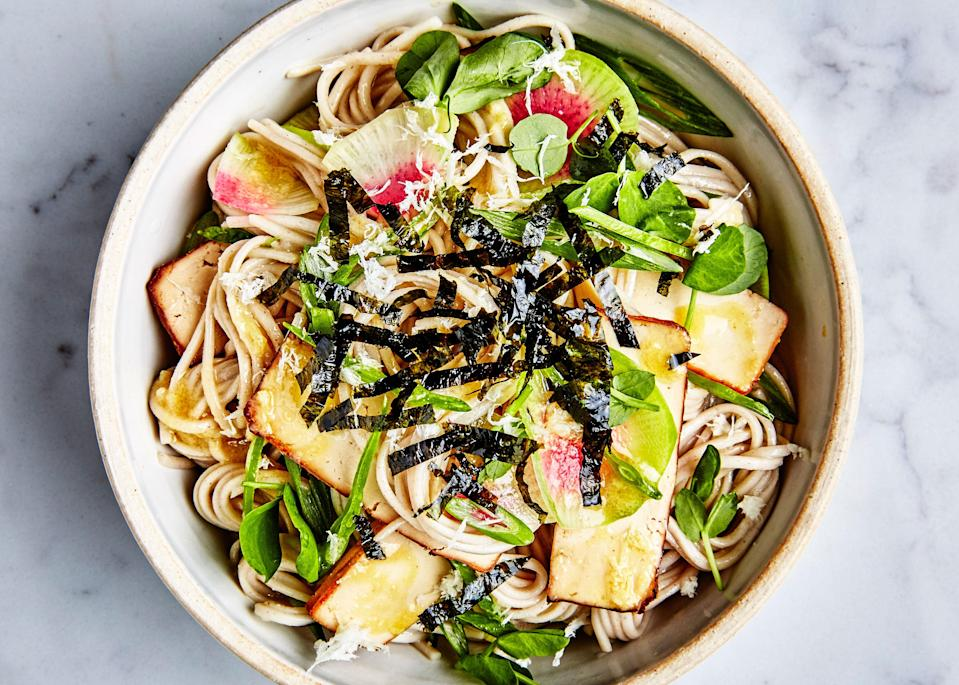 "This colorful cold noodle salad is infinitely riffable. Check out <a href=""http://www.bonappetit.com/recipe/ramen-with-steak-and-sesame-ginger-dressing?mbid=synd_yahoo_rss"" rel=""nofollow noopener"" target=""_blank"" data-ylk=""slk:Ramen with Steak and Sesame-Ginger Dressing"" class=""link rapid-noclick-resp"">Ramen with Steak and Sesame-Ginger Dressing</a>, <a href=""http://www.bonappetit.com/recipe/rice-noodles-with-shrimp-and-coconut-lime-dressing?mbid=synd_yahoo_rss"" rel=""nofollow noopener"" target=""_blank"" data-ylk=""slk:Rice Noodles with Shrimp and Coconut-Lime Dressing"" class=""link rapid-noclick-resp"">Rice Noodles with Shrimp and Coconut-Lime Dressing</a>, and <a href=""http://www.bonappetit.com/recipe/udon-with-chicken-and-garlicky-peanut-dressing?mbid=synd_yahoo_rss"" rel=""nofollow noopener"" target=""_blank"" data-ylk=""slk:Udon with Chicken and Garlicky Peanut Dressing"" class=""link rapid-noclick-resp"">Udon with Chicken and Garlicky Peanut Dressing</a> for even more ideas. <a href=""https://www.bonappetit.com/recipe/soba-with-tofu-and-miso-mustard-dressing?mbid=synd_yahoo_rss"" rel=""nofollow noopener"" target=""_blank"" data-ylk=""slk:See recipe."" class=""link rapid-noclick-resp"">See recipe.</a>"
