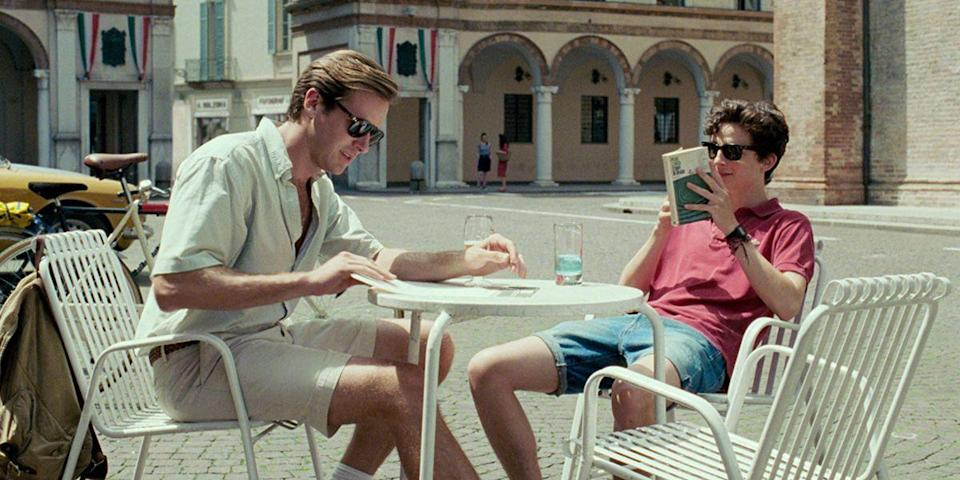 "<p>Armie Hammer and Timothée Chalamet star in Luca Guadagnino's sensory adaptation of <a href=""https://www.amazon.com/Call-Me-Your-Name-Novel/dp/031242678X?tag=syn-yahoo-20&ascsubtag=%5Bartid%7C10056.g.6498%5Bsrc%7Cyahoo-us"" rel=""nofollow noopener"" target=""_blank"" data-ylk=""slk:André Aciman's same-name novel"" class=""link rapid-noclick-resp"">André Aciman's same-name novel</a>, about a 17-year-old's first love. An erotic midsummer dream, Elio and Oliver's budding romance is a marvel to watch unfurl, from the dance floor to that infamous peach scene. <a class=""link rapid-noclick-resp"" href=""https://www.amazon.com/Call-Your-Name-Armie-Hammer/dp/B0791VJLVB/?tag=syn-yahoo-20&ascsubtag=%5Bartid%7C10056.g.6498%5Bsrc%7Cyahoo-us"" rel=""nofollow noopener"" target=""_blank"" data-ylk=""slk:Watch Now"">Watch Now</a></p>"