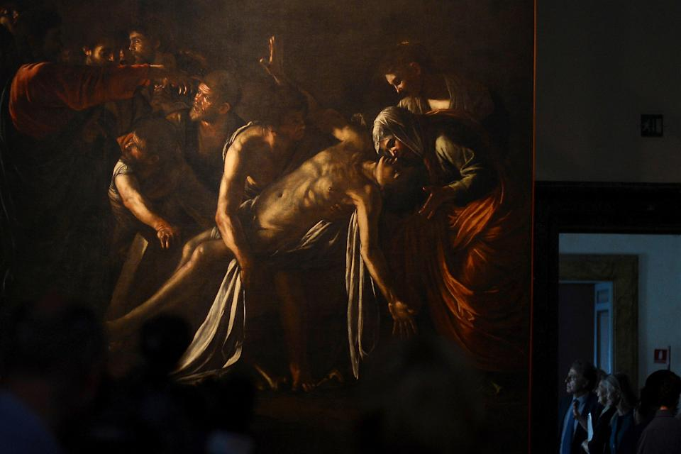 Caravaggio's The Raising of Lazarus (c. 1609) on display at the Museo Regionale in Messina.