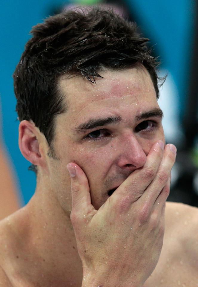 LONDON, ENGLAND - JULY 29:  Christian Sprenger of Australia reacts after winning the silver in the Men's 100m Breastsroke final on Day 2 of the London 2012 Olympic Games at the Aquatics Centre on July 29, 2012 in London, England.  (Photo by Adam Pretty/Getty Images)