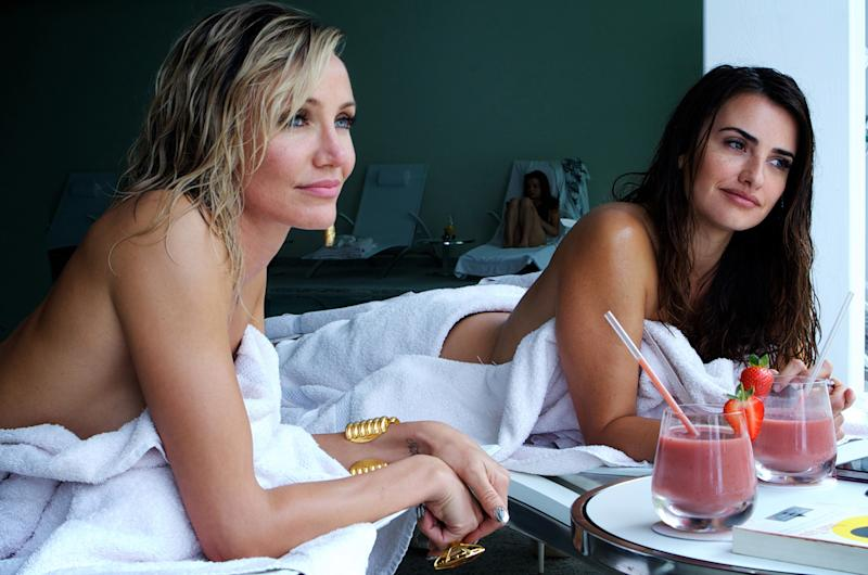 """This photo released by Twentieth Century Fox shows Cameron Diaz, left, as Malkina, and Penelope Cruz, as Laura, in the film, """"The Counselor."""" (AP Photo/Copyright Twentieth Century Fox, Kerry Brown)"""