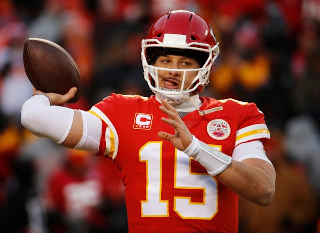 "Behold <a class=""link rapid-noclick-resp"" href=""/nfl/players/30123/"" data-ylk=""slk:Patrick Mahomes"">Patrick Mahomes</a>: The new king of fantasy QBs. (AP Photo/Charlie Riedel)"