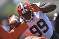 Cleveland Browns defensive linemen Andrew Billings (99) participates in a drill during an NFL football practice at the team training facility, Tuesday, June 15, 2021 in Berea, Ohio. (AP Photo/David Dermer)