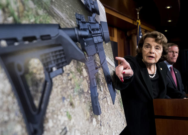 Sen. Dianne Feinstein, D-Calif., and Sen. Richard Blumenthal, D-Conn., hold a news conference in the Capitol on Oct. 4, 2017, to introduce legislation to ban the sale and possession of bump-stock equipment used to turn a semiautomatic weapon into an automatic one. (Photo: Bill Clark/CQ Roll Call via Getty Images)