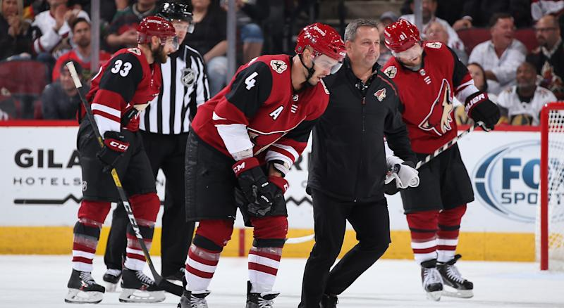 Niklas Hjalmarsson suffered the injury blocking a shot during the first period of Arizona's overtime loss to Colorado on Saturday. (Photo by Christian Petersen/Getty Images)