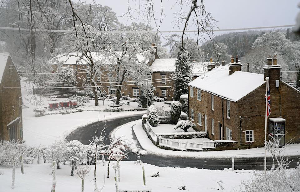 <strong>Snow covers the village of Allenheads, Northumberland. </strong> (Photo: Owen Humphreys - PA Images via Getty Images)