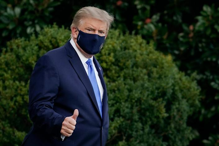 President Donald Trump leaves the White House for Walter Reed National Military Medical Center after testing positive for COVID-19.