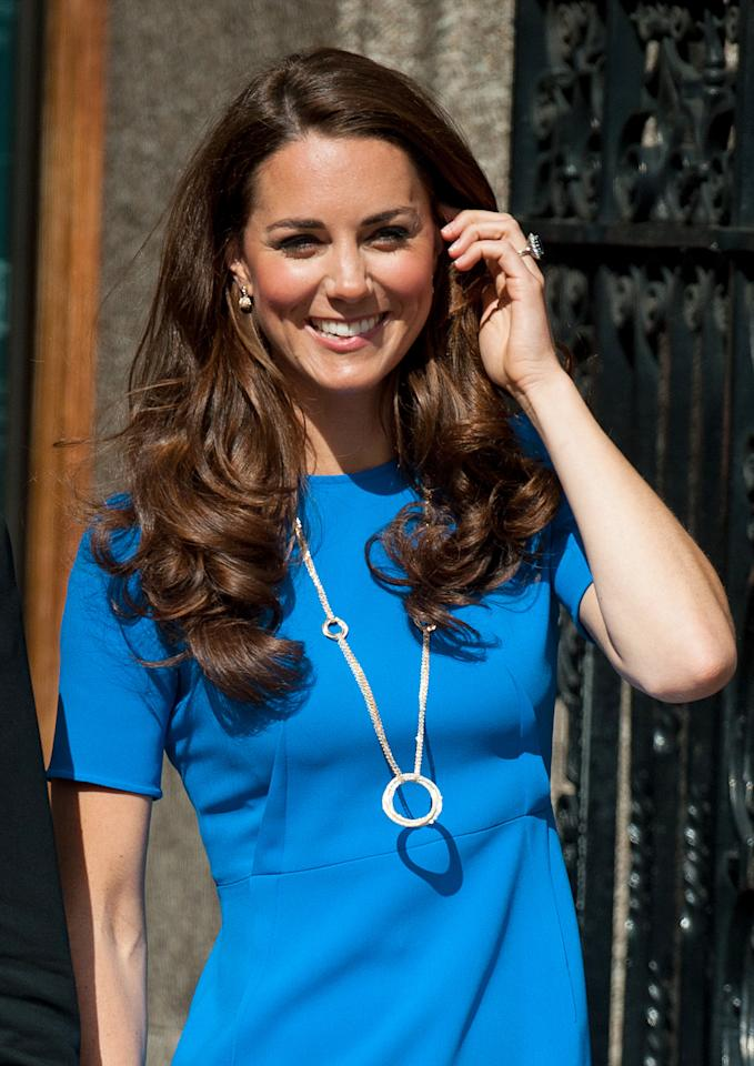 <p>In 2012, Kate hit up the National Portrait Gallery wearing a hugely expensive diamond pendant from Cartier. The £55,000 hoop necklace features five diamond circles in white, yellow and rose gold.<br /><i>[Photo: PA]</i> </p>