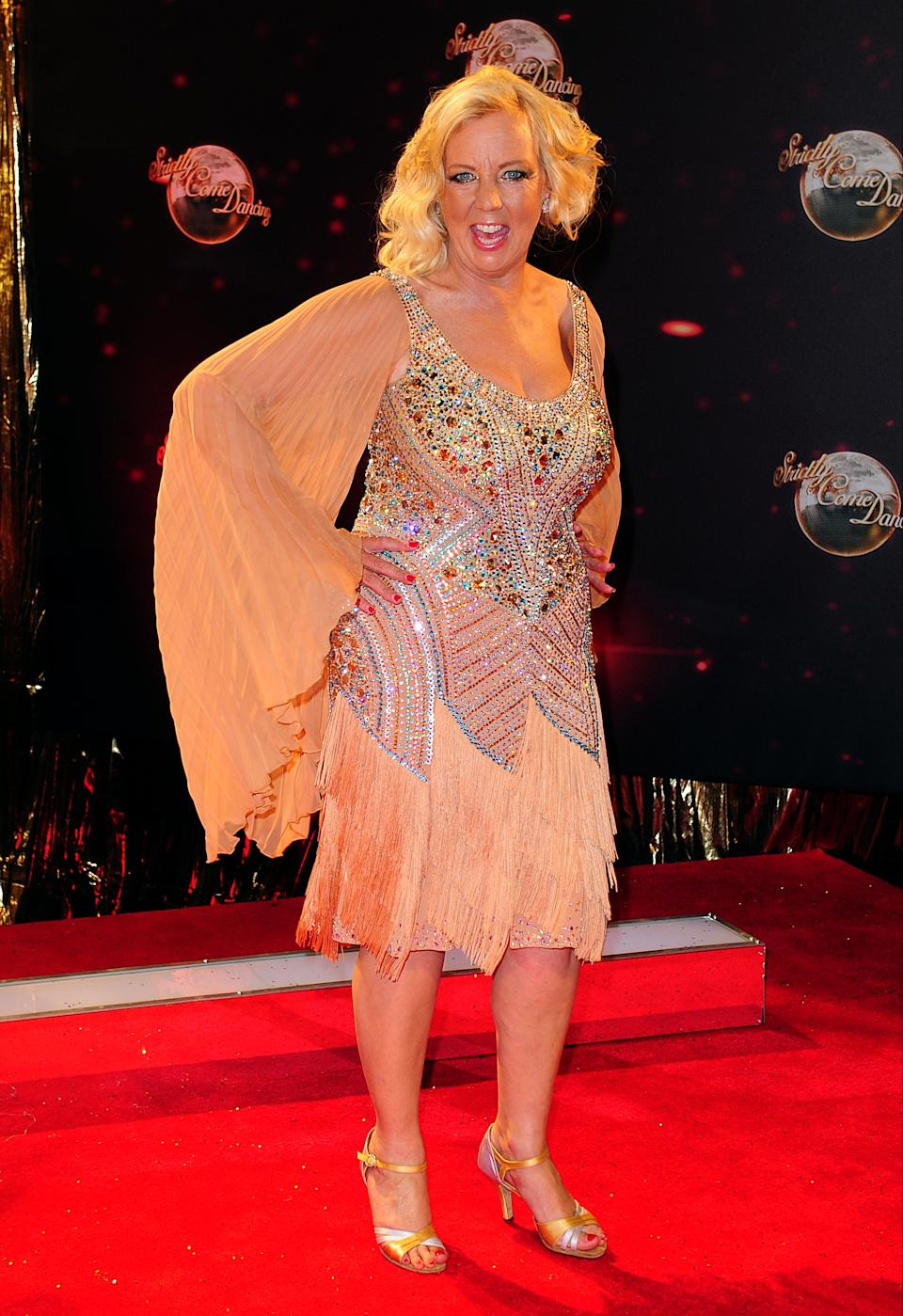 Deborah Meaden arriving for the Strictly Come Dancing Photocall at Elstree Studios, London.   (Photo by Ian West/PA Images via Getty Images)