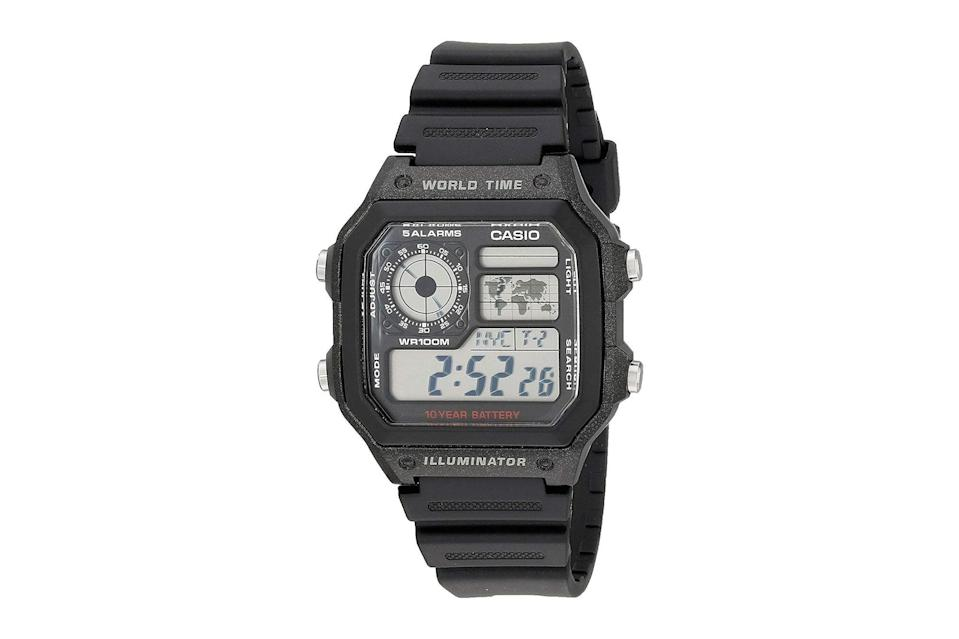 """$25, Amazon. <a href=""""https://www.amazon.com/Casio-AE1200WH-1A-World-Multifunction-Watch/dp/B0094B79PA"""" rel=""""nofollow noopener"""" target=""""_blank"""" data-ylk=""""slk:Get it now!"""" class=""""link rapid-noclick-resp"""">Get it now!</a>"""