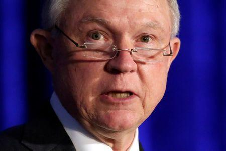 FILE PHOTO: U.S. Attorney General Jeff Sessions delivers remarks at a summit on crime reduction and public safety in Bethesda, Maryland, U.S., June 20, 2017. REUTERS/Yuri Gripas/File Photo