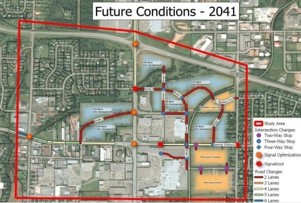 The city has outlined plans for 2031 and 2041. The plan in 2041, pictured here, includes two new streets.
