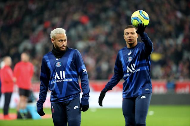 """<a class=""""link rapid-noclick-resp"""" href=""""/soccer/players/372885/"""" data-ylk=""""slk:Neymar"""">Neymar</a> (left), Kylian Mbappe and Paris Saint-Germain won't be able to finish the season along with the rest of Ligue 1. (Photo by Xavier Laine/Getty Images)"""