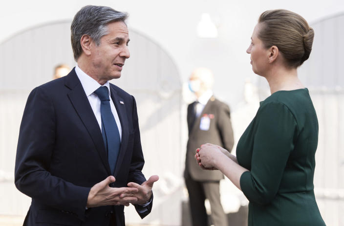 Danish Prime Minister Mette Frederiksen talks with US Secretary of State Antony Blinken as he arrives for meetings at Marienborg, the official residence of the Prime Minister, in Copenhagen, Denmark, May 17, 2021. U.S. Secretary of State Antony Blinken is in Denmark for talks on climate change, Arctic policy and Russia as calls grow for the Biden administration to take a tougher and more active stance on spiraling Israeli-Palestinian violence. (Saul Loeb/Pool photo via AP)