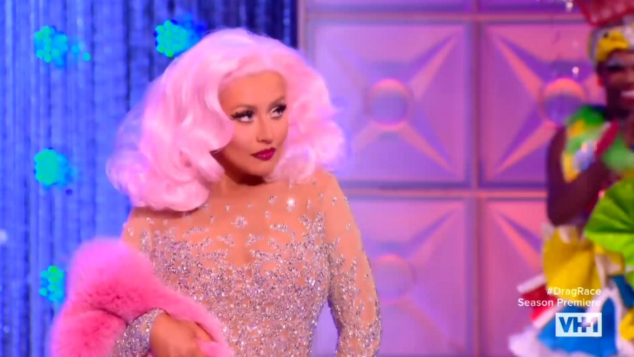 """<span style=""""font-weight: 400;"""">On the season premiere of </span><i><span style=""""font-weight: 400;"""">RuPaul's Drag Race</span></i><span style=""""font-weight: 400;"""">, the contestants were all on their toes when </span><a href=""""https://www.yahoo.com/entertainment/tagged/rupaul/""""><span style=""""font-weight: 400;"""">RuPaul</span></a><span style=""""font-weight: 400;""""> announced the return of season nine's drag queen Farrah Moan.</span>  <span style=""""font-weight: 400;"""">But the reveal was actually a joke! The actual queen who entered the stage was none other than pop icon </span><a href=""""https://www.yahoo.com/entertainment/tagged/christina-aguilera/""""><span style=""""font-weight: 400;"""">Christina Aguilera</span></a><span style=""""font-weight: 400;"""">, this season's first guest judge. And just in case anyone in the room still needed proof that it really was her, the pop singer belted out a few notes, because NBD.</span>  <span style=""""font-weight: 400;"""">RuPaul joking that Aguilera was drag queen Farrah Moan was likely to poke fun at an incident that happened last year, when a fashion blog mistaked Farrah's look at DragCon for Aguilera arriving at the Met Gala.</span>  <span style=""""font-weight: 400;"""">With the jokes out of the way, once the queens managed to regain their composure, Aguilera joined the judges' panel, where she had the best time watching the bottom two contestants lip sync battle each other to her hit song """"Ain't No Other Man."""" </span>  <span style=""""font-weight: 400;"""">And, later, on the </span><i><span style=""""font-weight: 400;"""">Untucked</span></i><span style=""""font-weight: 400;""""> aftershow, we got to see a behind-the-scenes moment between Aguilera and the ladies, where the girl talk got real. During the conversation, in which one contestant mentioned that Aguilera's hit song, """"Fighter,"""" was the first song she ever did drag for, another contestant asked Aguilera, """"So, was that about someone?"""" The singer exclaimed, """"Of course it was!"""" Aguilera also said that the guy """"deserved it,"""" """