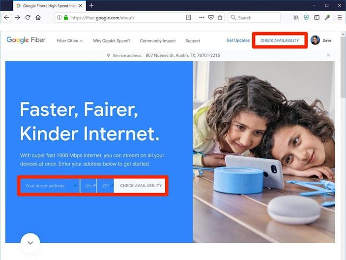 """You can visit the Google Fiber website to check its availability and sign up for the service. <p class=""""copyright"""">Dave Johnson/Business Insider</p>"""